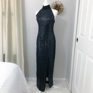 Stenay Black Sequin Beaded Halter Neck Gown